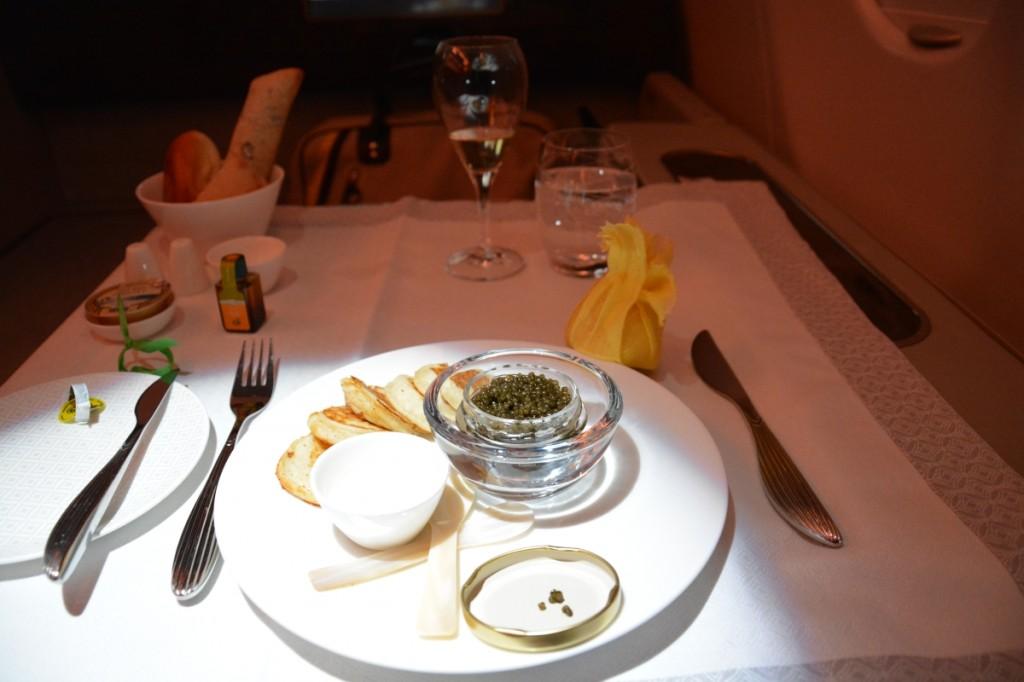 Qatar Airways First Class - Cavia appetizer