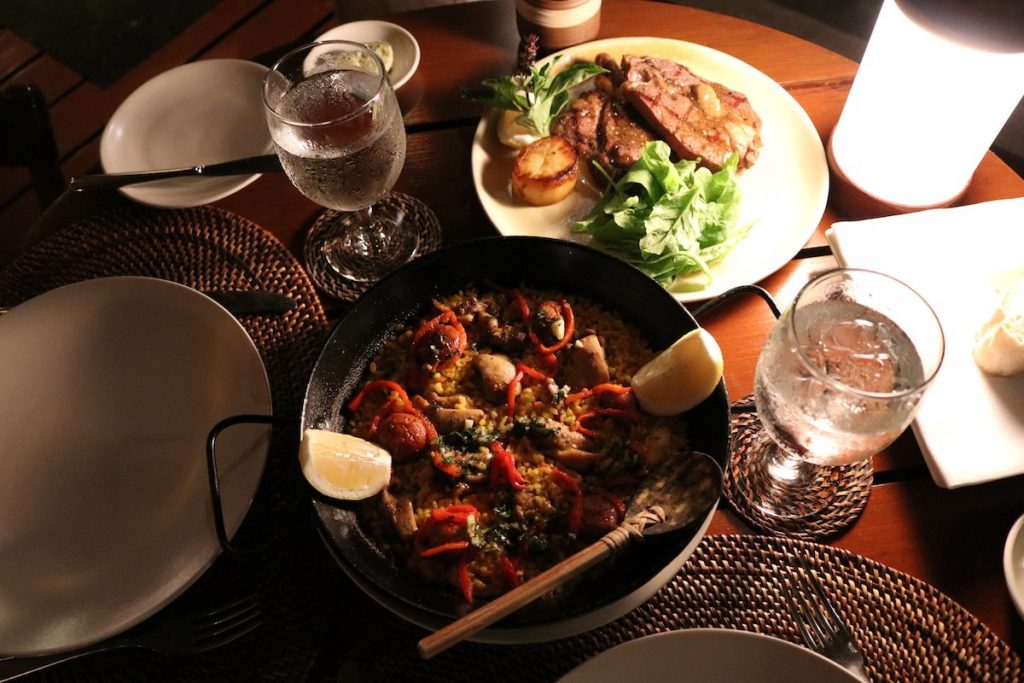 Delicious paella and rib-eye steak at Beach Club