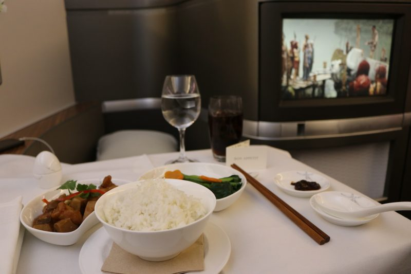 Main dish - Chinese-style chicken with steam rice - from Cathay Pacific First Class lunch