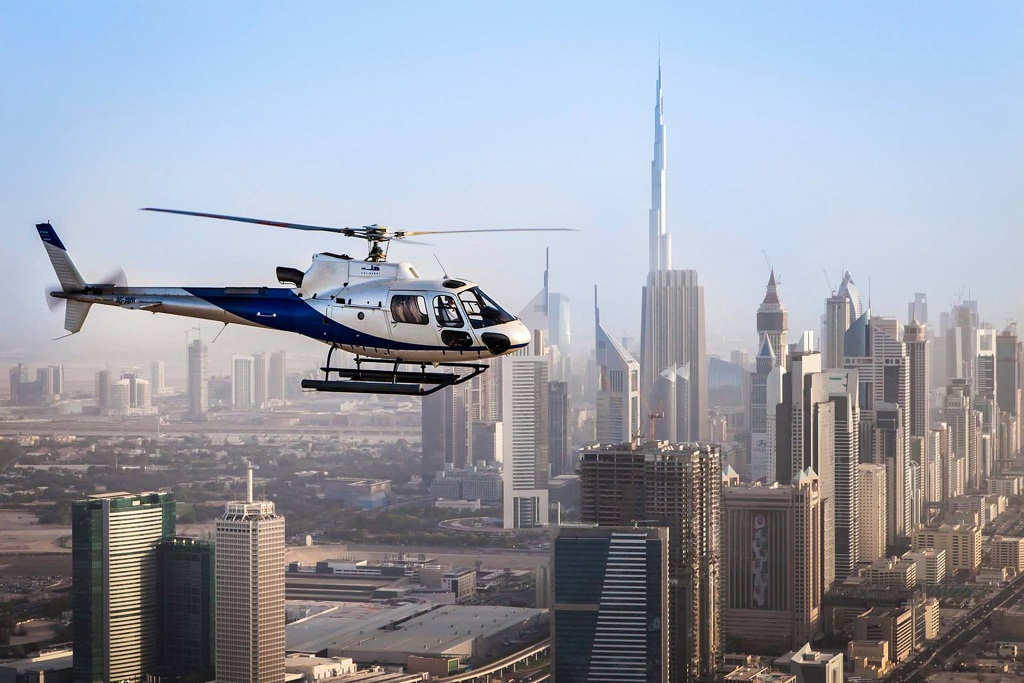Helicopter ride above Dubai downtown