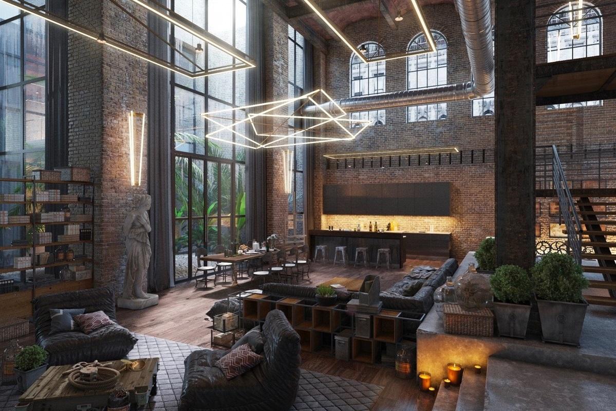 luxury industrial living room